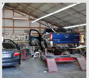 vehicles in repair shop